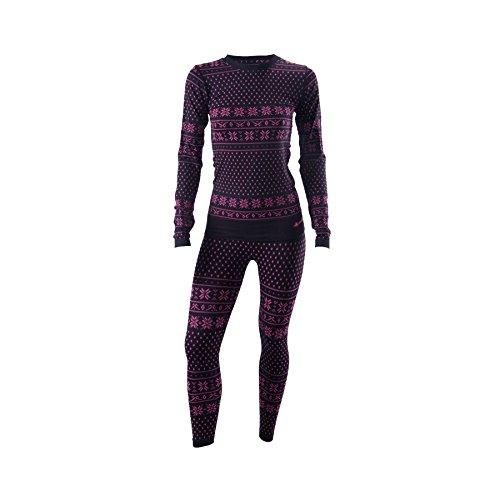 Viking Brita Set Damen Funktionsunterwäsche Thermounterwäsche Skiunterwäsche - schwarz-rosa, S