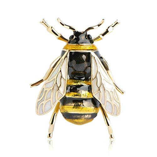 Biene Fliegen einzigartige Brosche Kind-Mädchen-Kleidung Accesoires Goldfarbe Schwarz Gelb Emaille Broschen Geburtstags-Geschenke Schmuck