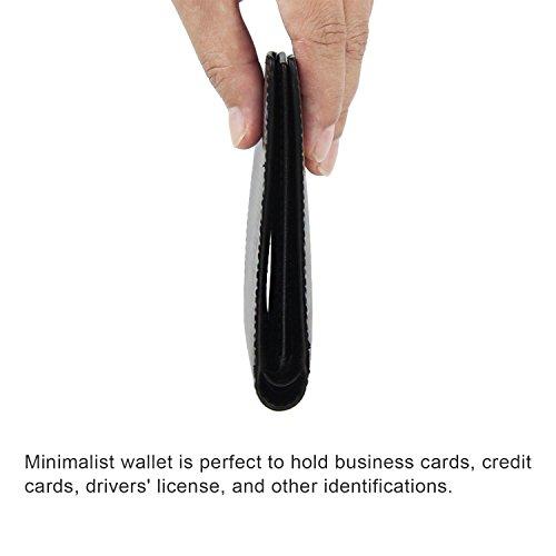 Männer RFID Blocking Brieftaschen Carbon Fiber Echtes Leder Slim Trifold Geldbörse Schwarz Schwarz