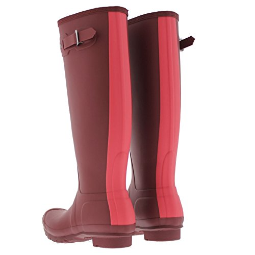 Hunter Womens Original Stripe Synthetic Rain Boots Damson Bright Watermelon