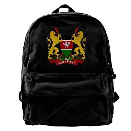 Wappen von Kenia Lässiger Leichter multifunktionaler Canvas-Rucksack -