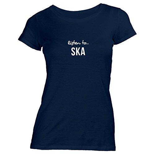 Damen T-Shirt - Listen To Ska - Music Fan Musik Navy