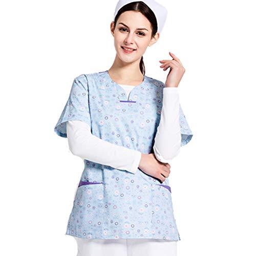 R&R Scrubs Medical Uniform Kurzarm Pet Doctor Uniform Blumenmuster,M -