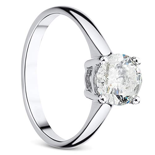 Orovi Damen Ring Weißgold 1.00 Ct Solitär Diamant Verlobunsring 9 Karat (375) Gold und Diamant Brillanten