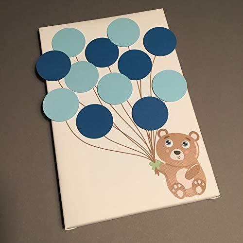 Bärchen Leinwand ideales Geschenk, Gästebuch, Erinnerung, Deko, Idee, Andenken zur Geburt, Taufe, Babyparty, Baby Shower in Blau für Junge