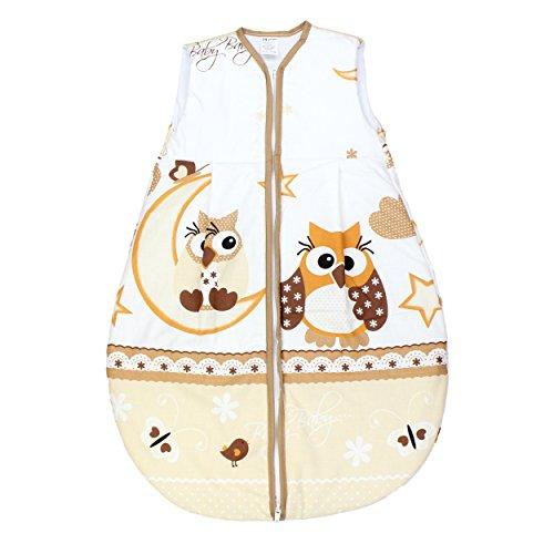 Preisvergleich Produktbild TupTam Babyschlafsack Wattiert ohne Ärmel ANK002, Farbe: Eulen Beige, Größe: 62-74