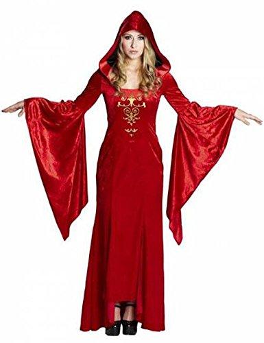 Kostüm Queen Robe (PA11 Kostüm für Damen Gothic Robe Kapuzenkleid Gr. 46, Lange Kapuzenrobe aus rotem Pannesamt und Satinstoff, mit weit ausladenden Trompetenärmeln und goldenem)