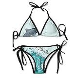 Women's Sexy Bikini Set Two Surf Dolphins are on The Waves Custom Tie 2 Piece Bikini Suits Pushed Up Bathing Swimwear