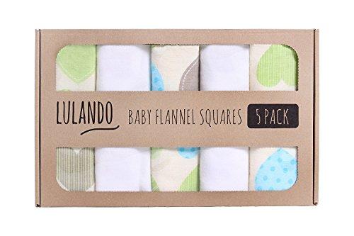 LULANDO Stoffwindeln und Moltontücher 70x80cm (5er Set). Waschbare Windeln und Spucktücher für Ihr Baby, Farbe: Herzen Grün/Weiß