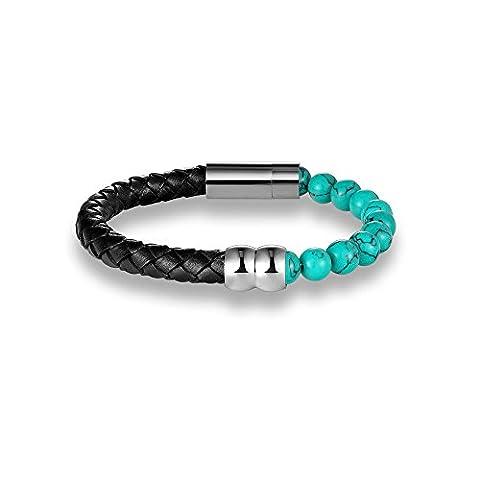 Bracelet Blue Pearls - Bracelet Homme en Cuir Tressé Noir et