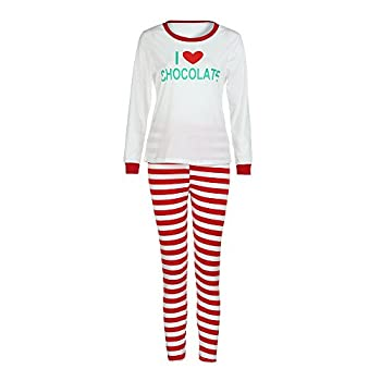 Weant Family Matching Christmas Pajamas Set Father Mother Kids Toddler Christmas Clothes Sets Letter Printed Tops+ Santa Striped Pants (M, Mom) 0