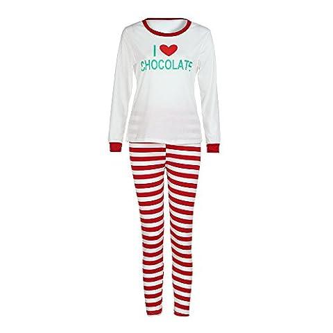 Gaddrt Baby & Frauen & Mann Familie Matching Weihnachtsbrief Pajamas Set Bluse + Santa Striped Hosen Outfits Kleider Set (M, Rot)