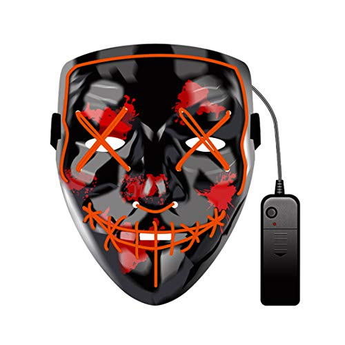 OLUMBO LED Light up Mask Halloween Glow Mask Masquerade Natale Costume Cosplay Decorazione per Feste Rosso