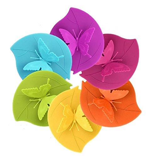Glas Abdeckung (CREATESTAR Schmetterling Anti-Staub luftdichten Silikon Tasse Cover Deckel 6 Set)