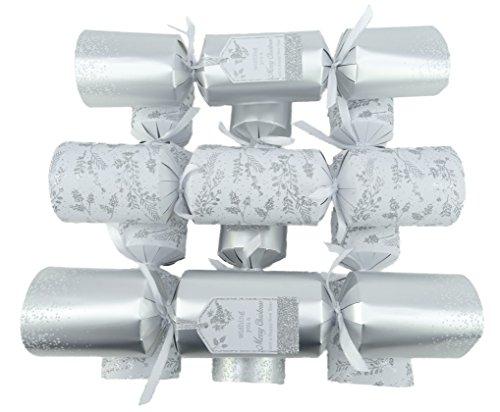 Packung mit 6 - großem Deluxe Silber verziert Weihnachten Cracker - Weihnachten Tischdekoration (Home Tischdekoration)
