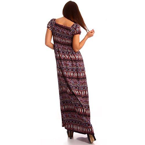 Damen Maxikleid Carmen Ausschnitt Kleid Lang Lila Raihana Eu