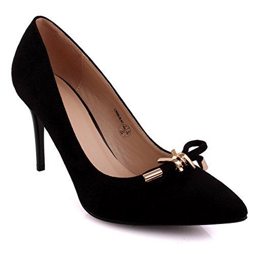 Unze Donne 'Brian' punta-Toe Media Bassa tacco alto promenade del partito di Get Together Carnevale ufficio Sandali sera Tacchi Court Shoes UK Dimensione 3-8 Nero