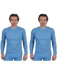 2 Maillot de Corps Sous-Vêtements Thermique Masculin/Homme Manches Longues Bleu En Variétés de Taille