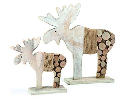 """Small Foot 10208 Deko-Elch """"Baumscheiben"""", 2er Set Weihnachtsdekoration, Holz, weiß/Natur, 28.00 x 6.00 x 30.00 cm"""