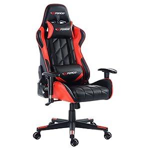 GTFORCE PRO GT - Gaming-Stuhl für E-Sport und Rennspiele - PC-Stuhl für das Büro - Liegepositionen - Kunstleder - Rot