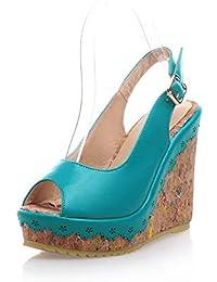 Fashion Heel PU Women's Peep Toe Wedge Heel Handmade Sling Back with Platform