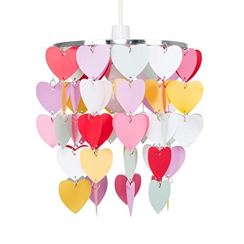 MiniSun - Pantalla para lámpara de techo 'Cuore' - cascada de corazones multicolores