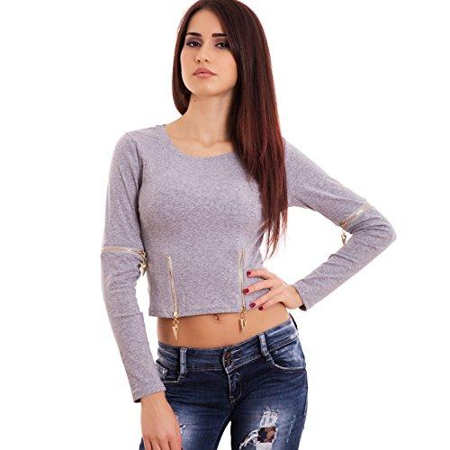 Toocool - Maglia donna maglietta girocollo maniche lunghe zip casual top sexy nuova-V3106 Grigio