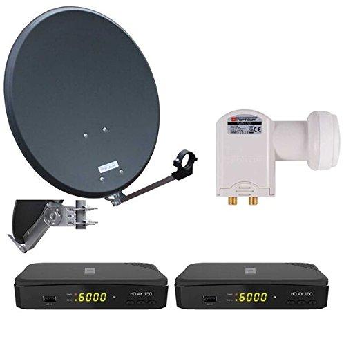 Opticum Digitale 2 Teilnehmer Satelliten-Komplettanlage (HD AX 150 HDTV-Receiver, Twin-LNB, QA 60 cm Antenne, Stahl) anthrazit