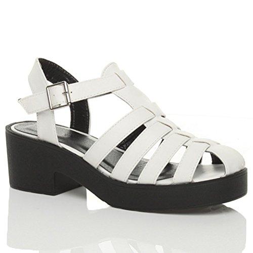 Damen Römersandalen Gladiators Plateausohle Blockabsatz Riemchen Schuhe Größe Weiß / Schwarze Sohle