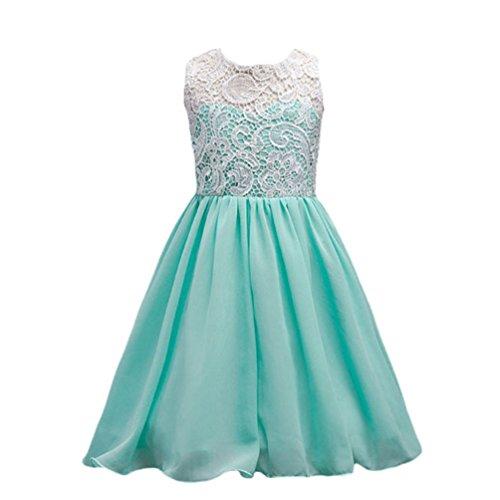 NiSeng Kinder Mädchen Spitzenkleid Abendkleid Blumenkleid Hochzeitskleid Festkleid Partykleid...