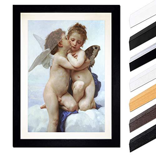 Bild mit Rahmen - William-Adolphe Bouguereau Der erste Kuss 60x80cm ca. A1 - Gerahmter Kunstdruck inkl. Galerie Passepartout Alte Meister - Rahmen schwarz -