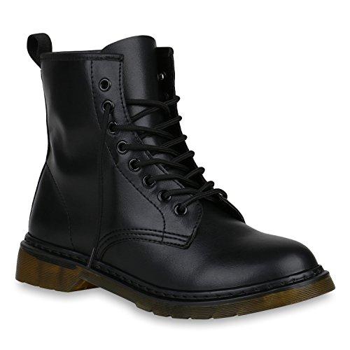 Damen Schuhe Outdoor Worker Boots Leder-Optik Stiefeletten Profilsohle 148210 Schwarz Black Bernice 36 Flandell