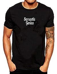 Verano para Hombre, Estampado satírico, Cuello Redondo, Camiseta de Manga Corta y Confort