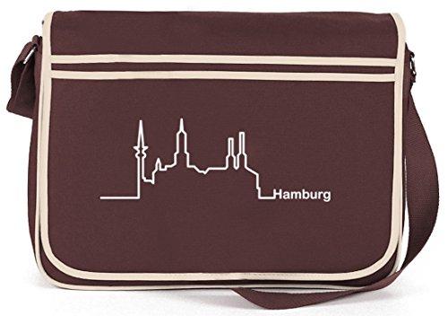 Shirtstreet24, Skyline Hamburg, Retro Messenger Bag Kuriertasche Umhängetasche Braun