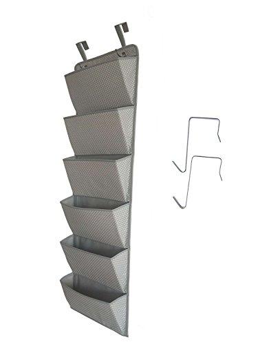 Dreamsy Over The Door Hängende Datei Organizer, 6-Pocket Wall Mount Büromaterial Storage Pocket Chart für Magazine Notebooks, Planer, Dateiordner (Storage Chart Pocket)