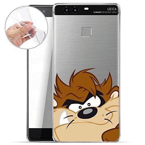 finoo | Huawei P9 Weiche flexible lizensierte Silikon-Handy-Hülle | Transparente TPU Cover Schale mit Looney Tunes Motiv | Tasche Case mit Ultra Slim Rundum-schutz | Taz Zahn