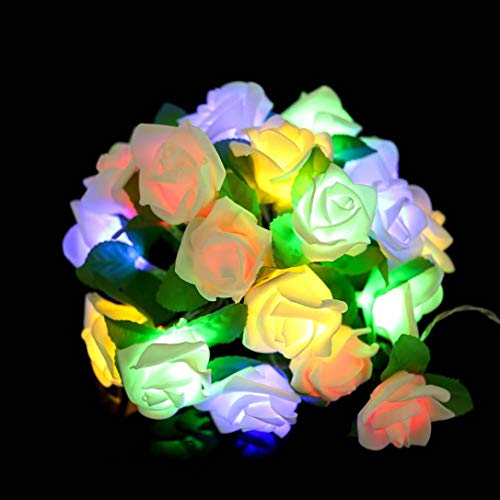 Kingko® Rose LED Lichterkette Fenster Vorhang Lichter String Lampe Party Decor mit 215cm 20LED Perlen für Garten, Hochzeit, Party usw (Farbig)