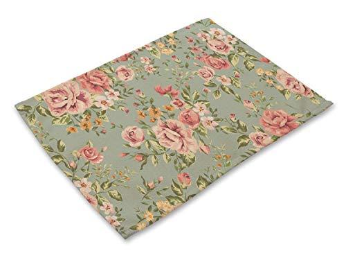 (Sucastle 4er Set Platzdeckchen Abwaschbar Tischsets Baumwolle und Leinen Tischunterlagen 42x32cm-Aquarell Pflanzenkunst Blumenschmuck)