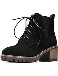 SHOWHOW Damen Martin Boots Kurzschaft Stiefel Mit Schnürsenkel Schwarz 40 EU