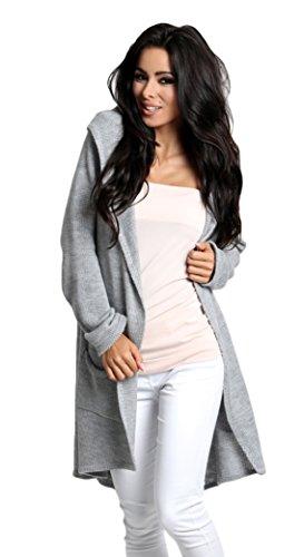 Lsecret  Damen Strickjacke Cardigan Pullover Kapuze 36 38 40 (Grau)