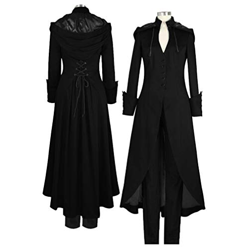Mujer Vintage Steampunk Swallowtail Tailcoat con Capucha Suelto...