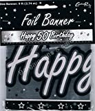 2 X BLACK & SILVER HAPPY 50TH BIRTHDAY BANNER - 9FT (REPEATS 3 TIMES)