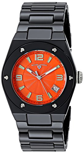 Swiss Legend women's Quartz Watch with Orange Dial Analogue Display and Black Ceramic Bracelet SL-10054-BKOTSA