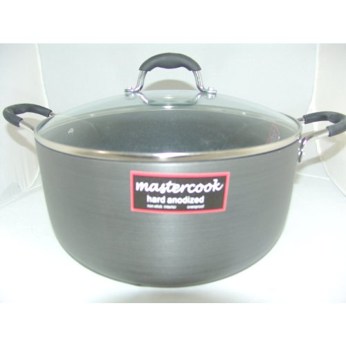 Master Cook Longlife Cookware Heavy Gauge Hard Anodized Casserole With Glass Lid 32cm/12L