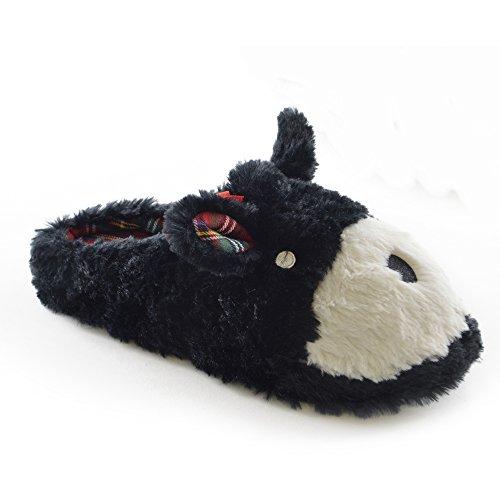 Damen Hausschuhe / Pantoffeln im Tier-Design mit Karo-Einsatz Braun
