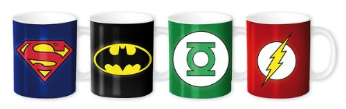 Merchandiseonline DC Comics Superhelden – Keramik Espresso Tasse/Mug Set (Superman, Batman, Green Lantern & Flash Logos/Rangabzeichen)