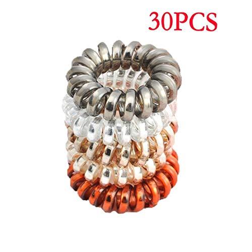 30Pcs Frauen-Haar-Riegel Nein Knitter Telefon-Draht-Haar-Band-Haar-Spulen Pferdeschwanz-Halter-Haar-Zusätze (Zufällige Farbe) - Draht-strecke