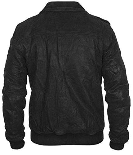 classyak Herren Fashion Bomber Stil Echt Leder Simulator Jacke Cow Black