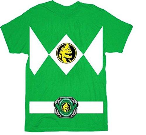 Power Rangers grün Rangers Kostüm Erwachsene T-Shirt, Jugendliche (Power Ranger Kostüm Grüne Rangers)