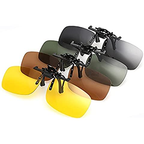 PChero® 4 lenti per Occhiali da sole polarizzati per miopia, per visione notturna, a Clip, lenti Flip Up-Occhiali da sole, colore: giallo, con visione notturna, grigio, Verde scuro, marrone